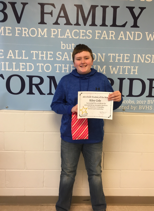 8th grade Student of the Month!