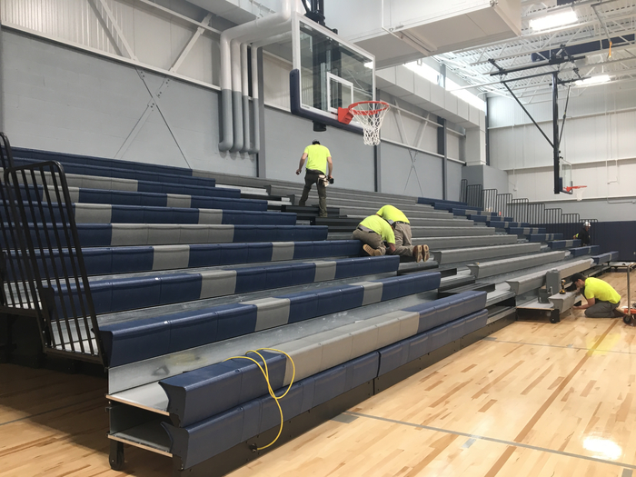 Bleacher installation underway